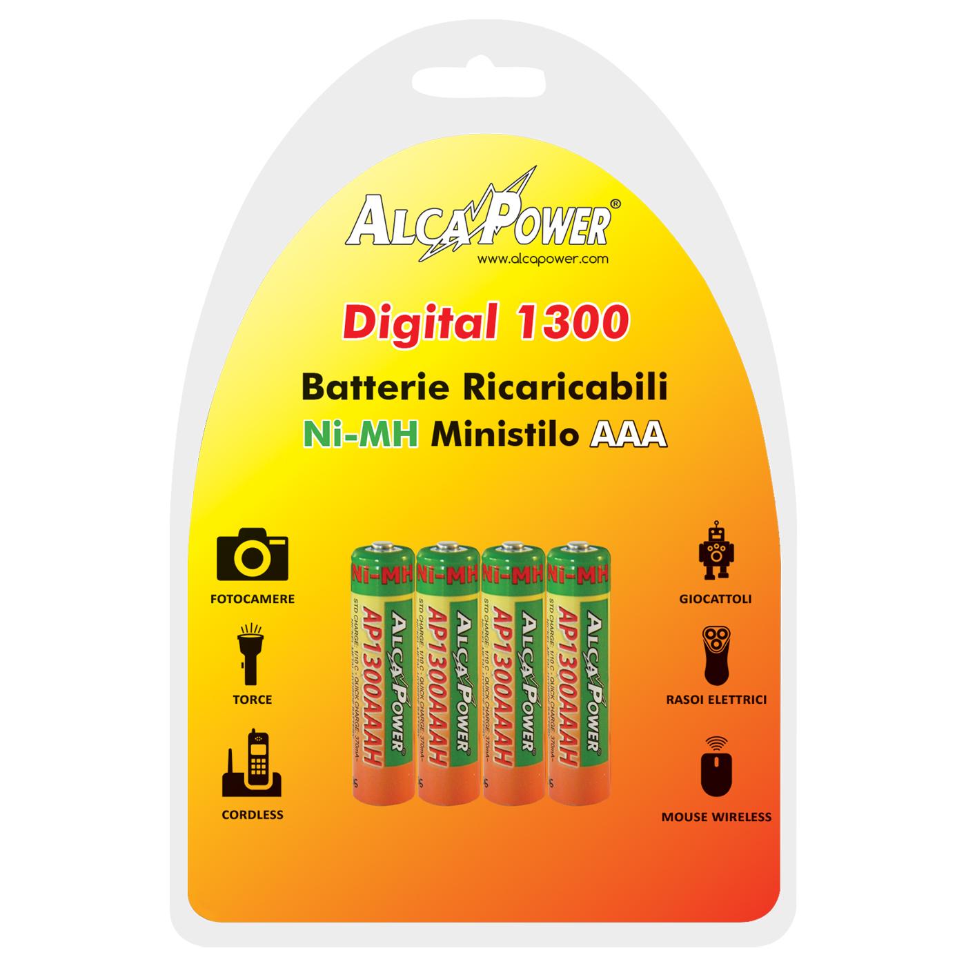 Blister di 4 Batterie AAA 1.2V Digital 1300