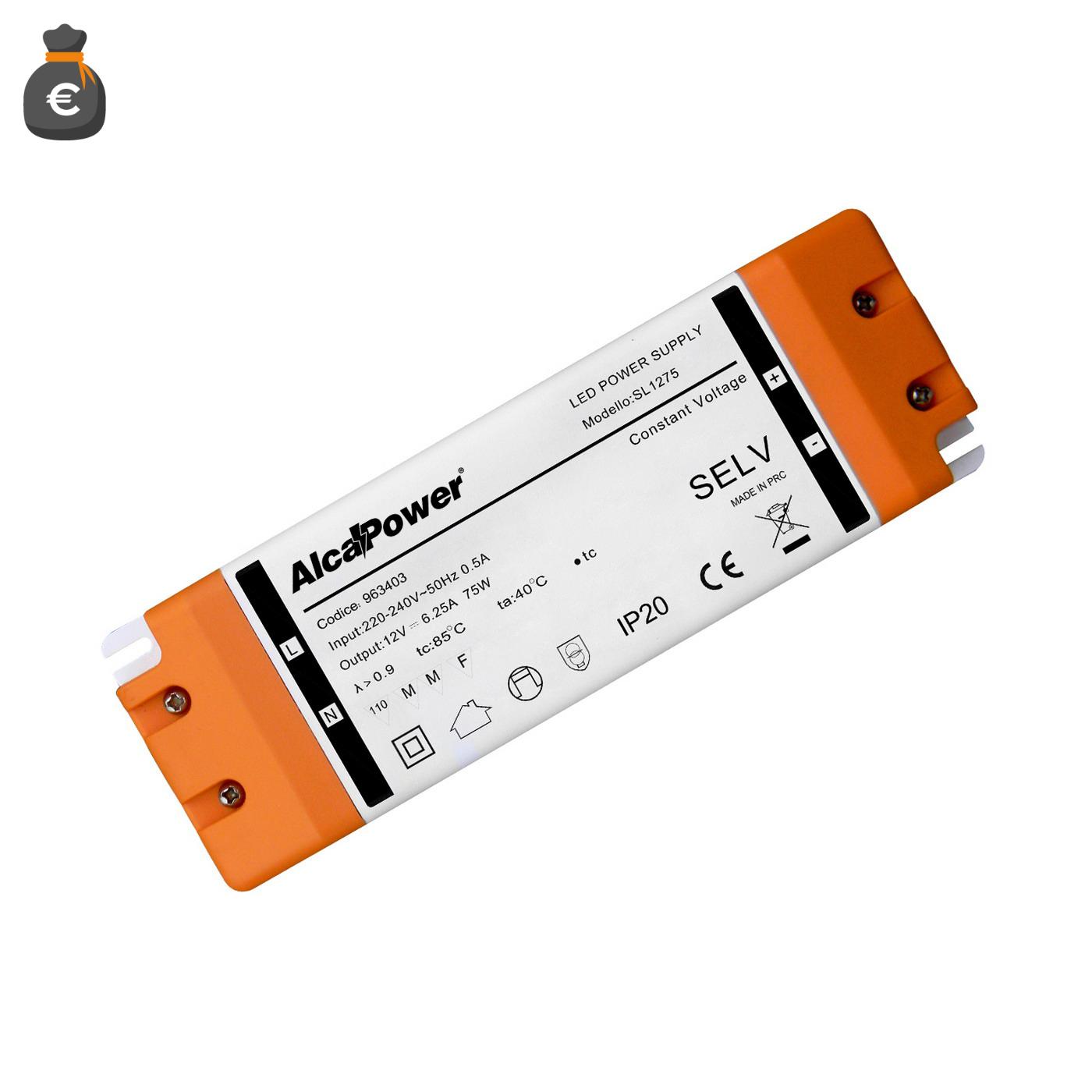 Alimentatore Switching IP20 12V 75W 6.2A